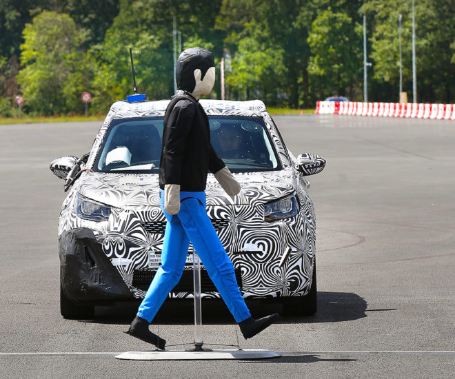 Advanced driver assistance systems testing for Euro NCAP requirements in UTAC's active safety test facility in France