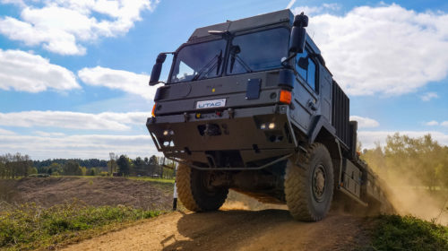 Military vehicle testing for MoD Technology Demonstrator 6 Programme at UTAC's proving ground in the UK